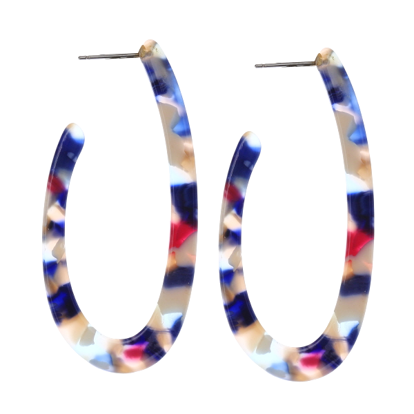 Lightweight Geometric Oval Tortoise Hoop Earrings