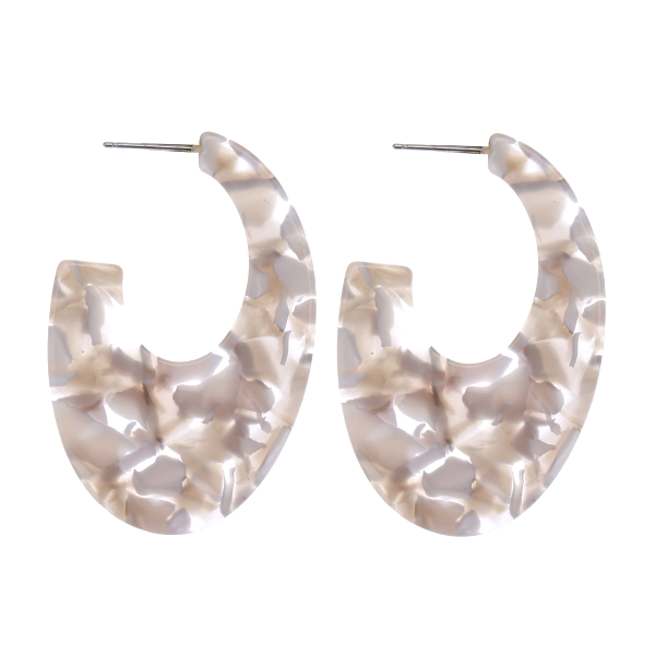 Lightweight Geometric Tortoise Oval Hoop Earrings