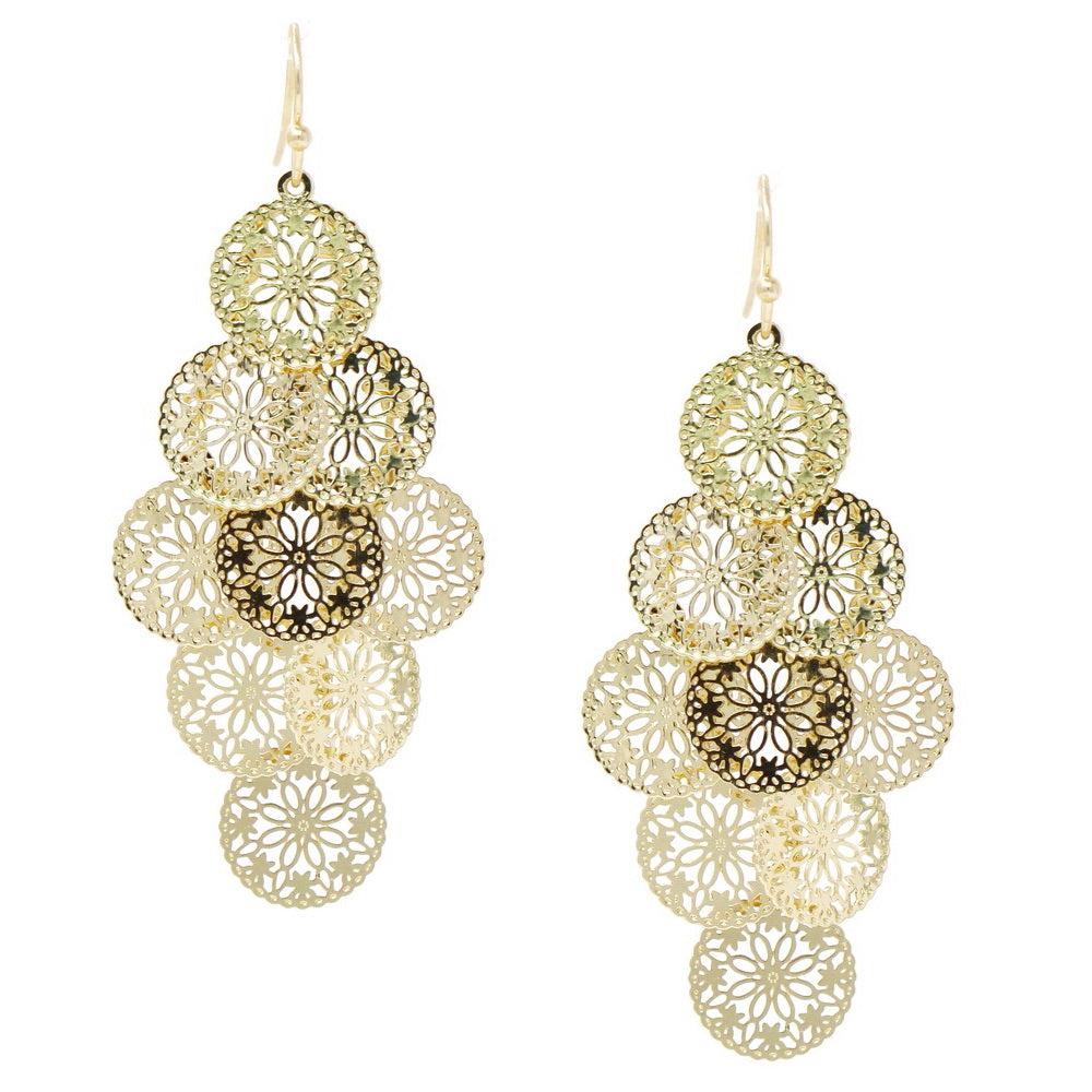 Lightweight Flower Print Filigree Disc Earrings