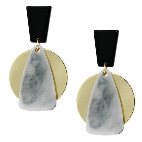 Modern Geometric Acetate And Metal Disc Earrings
