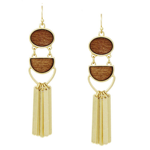 Urban Wood / Acetate Drip Earrings With Metal Bar Fringe