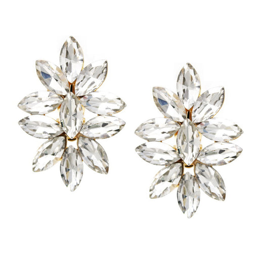 Marquise Stone Cluster Clip On Earrings