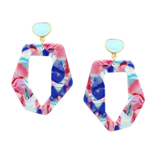 Color Pop Edition: Speckled Geometric Hoop Drop Earrings