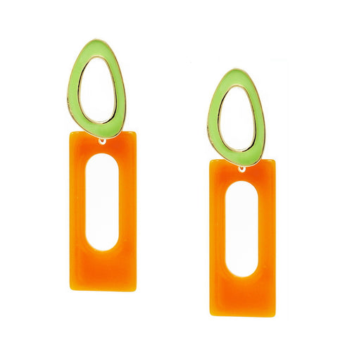 Color Pop Edition: Enamel Hoop With Acetate Rectangular Drop Earrings