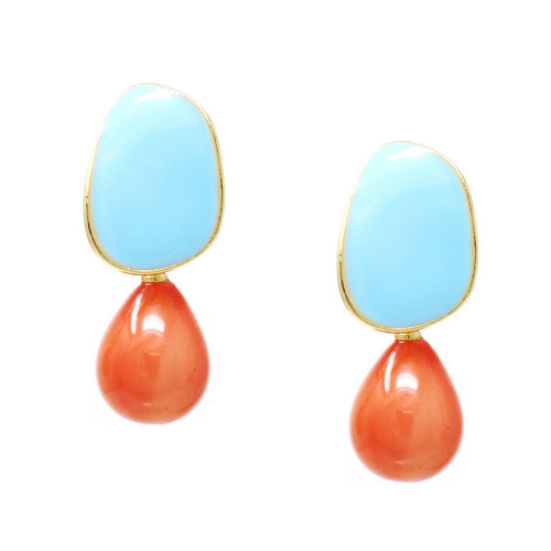 Color Pop Edition: Enamel Plate With Acetate Drop Earrings