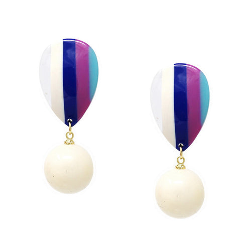 Color Pop Edition: Acetate Striped Teardrop With Dangling Bead Earrings