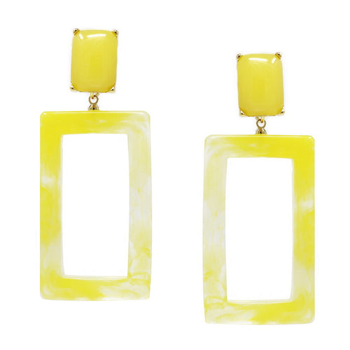 Color Pop Edition: Rectangular Acetate Hoop Drop Earrings