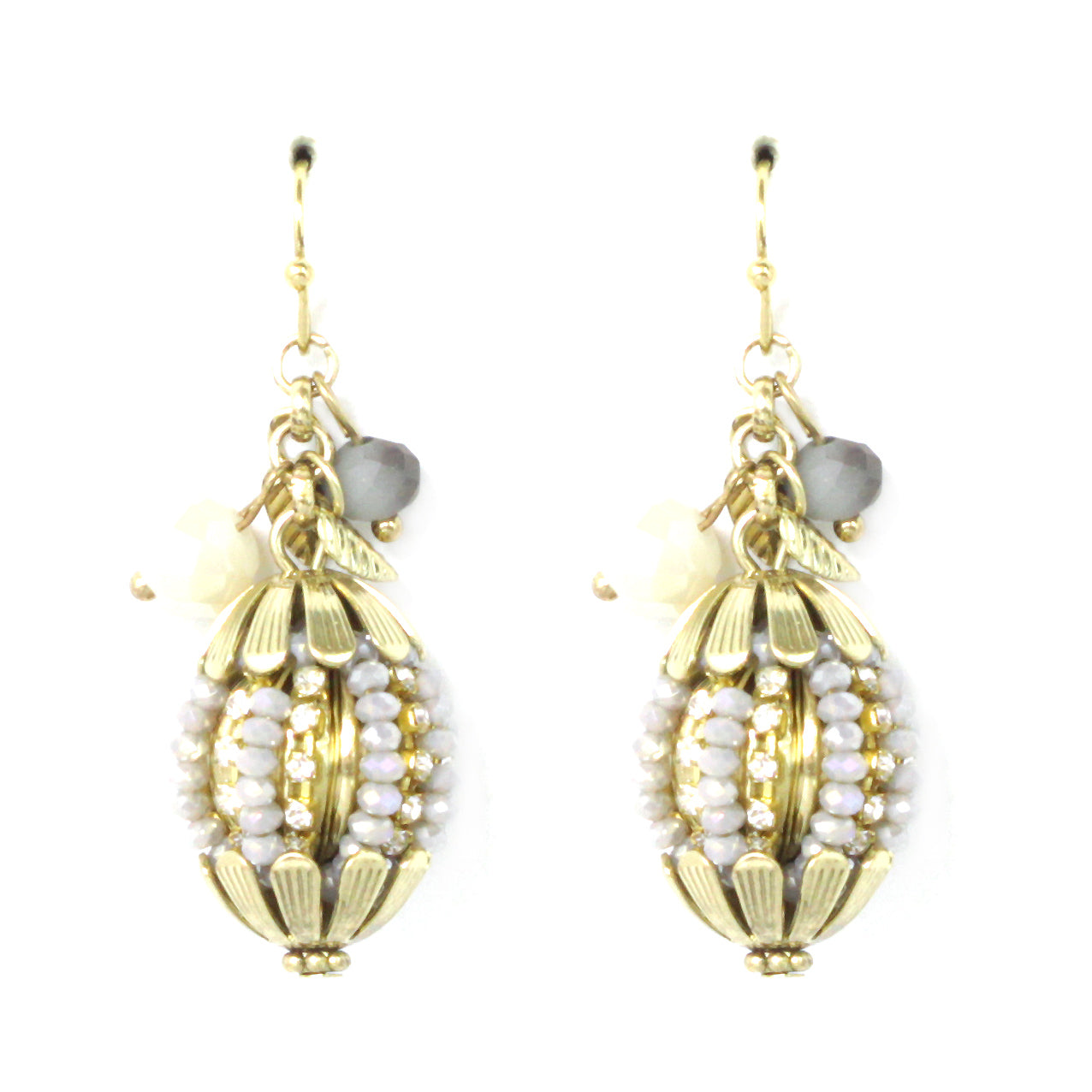 Crystal Beaded Ball Fish Hook Earrings