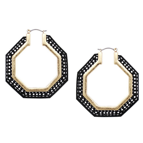 Perforated Leather Trimmed Octagon Hoop Earrings
