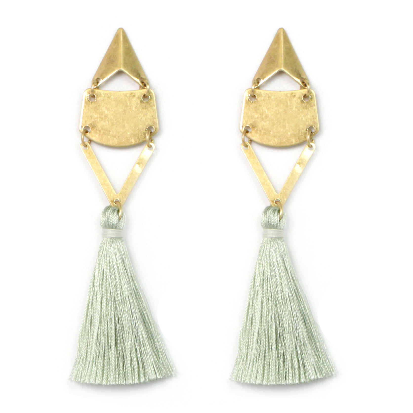 Geometric Metal with Thread Tassel Earrings