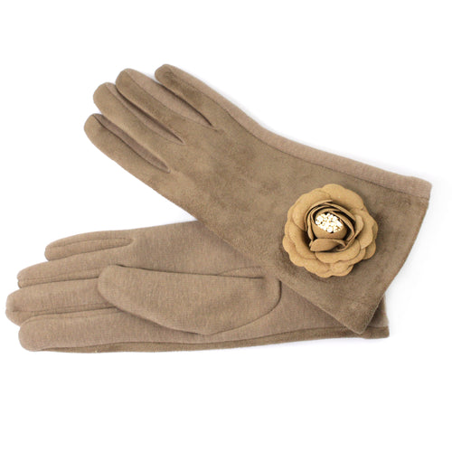 Flower Thermal Suede Gloves