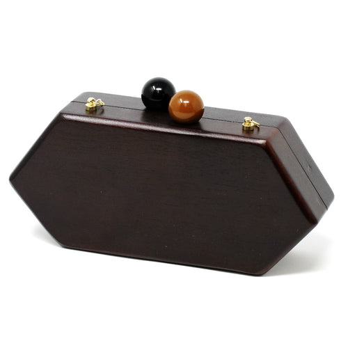 Cloie Limited Edition Wooden Hexagon Clutch Bag