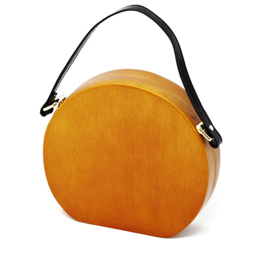 Cloie Limited Edition Wooden Round Handbag