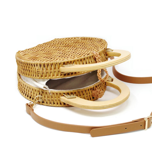 Round Rattan Bag With Wooded Handles