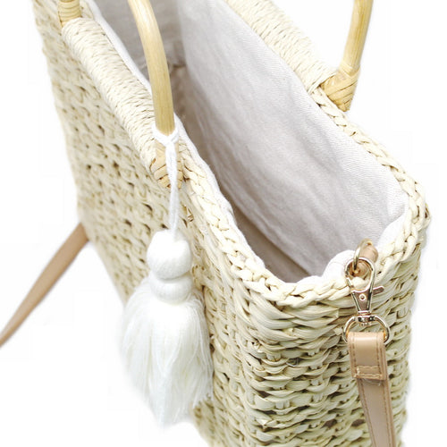Rectangular Woven Straw Bag With Decorative Tassel