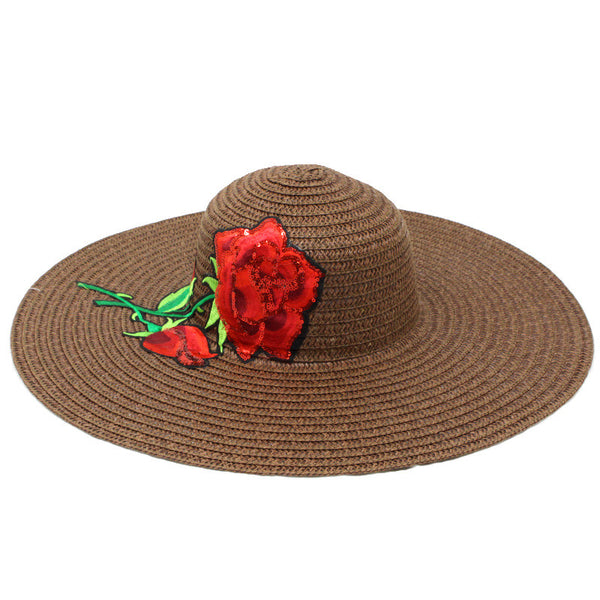 Summer Straw Embroidered Rose Patch Hat