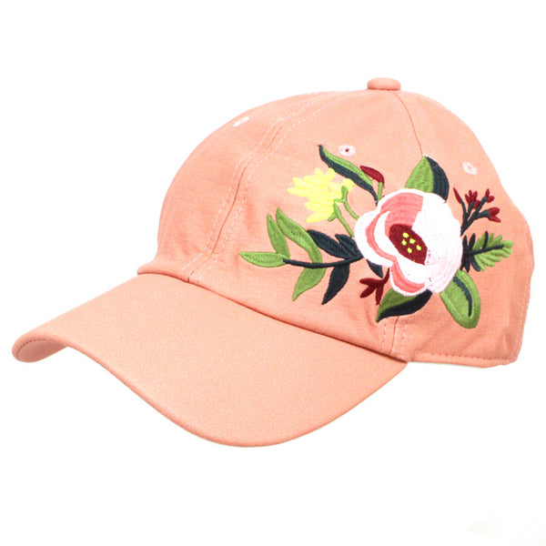 Embroidered Rose Patched Leather Baseball Cap