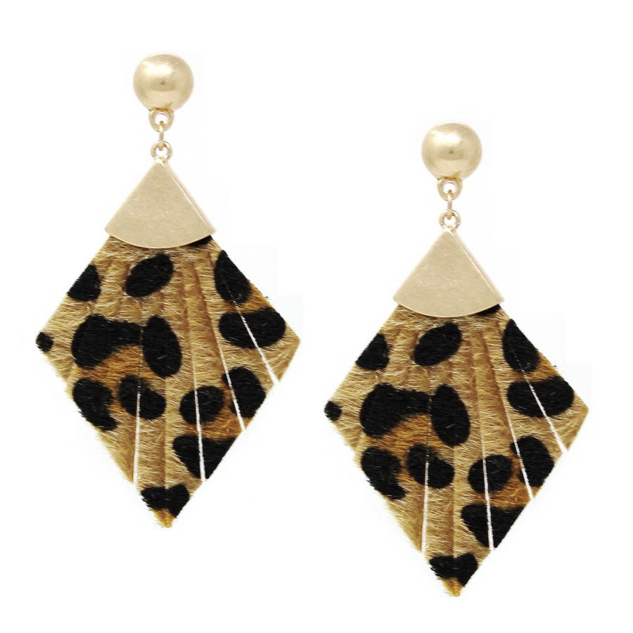 Animal Print Faux Leather Rhombus Earrings