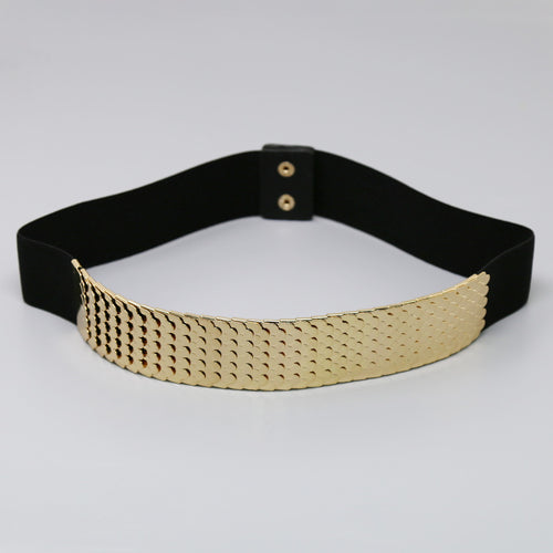 Fish Scale Textured Metal Stretch Belt