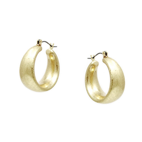 Worn Metal Chunky Hoop Earrings