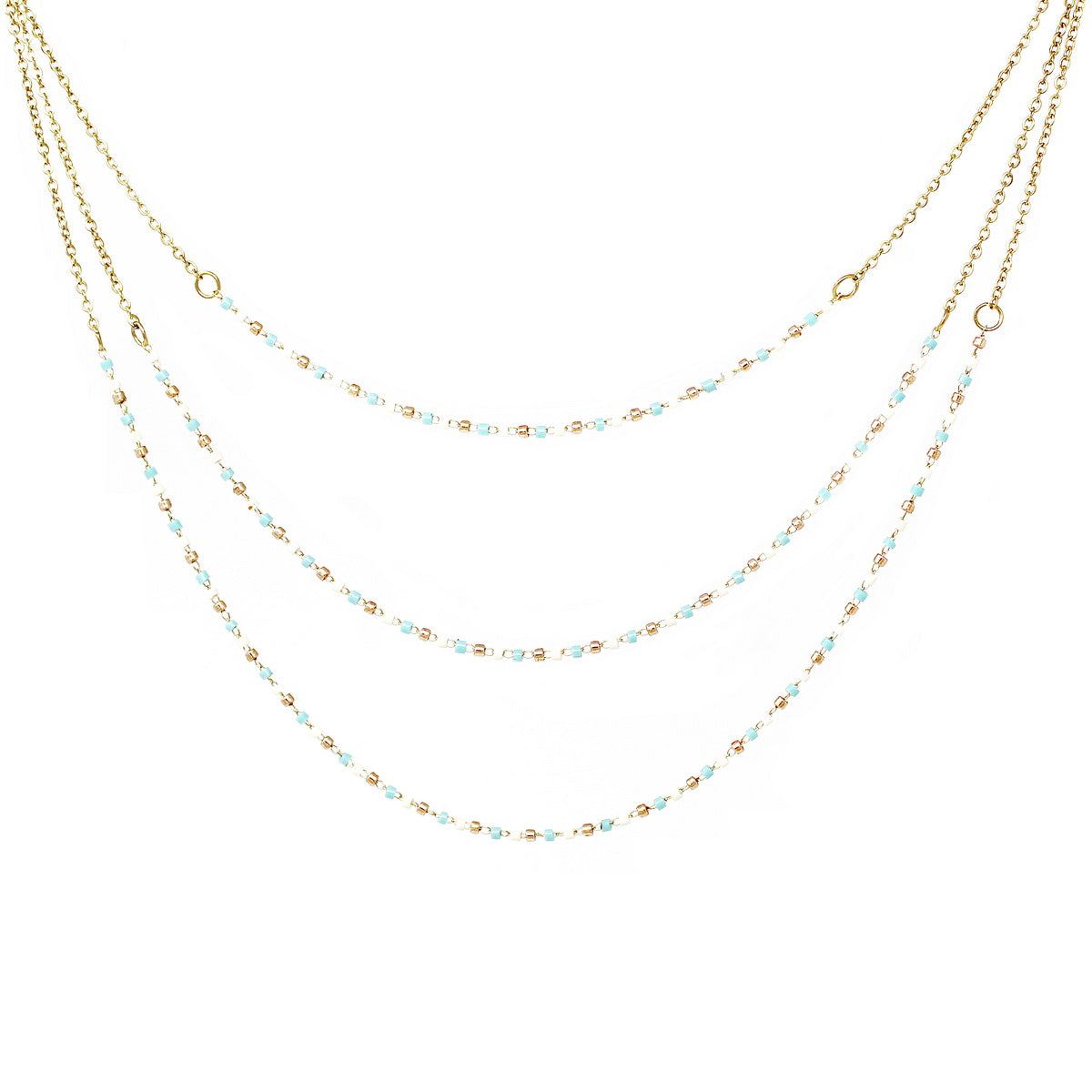 Seed Beaded Triple Strand Delicate Layered Necklace