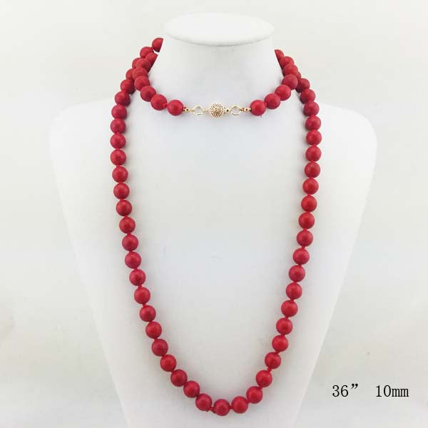 Natural Stone  Long Necklace 36""