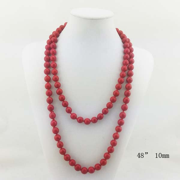 Natural Stone  Long Necklace 48""