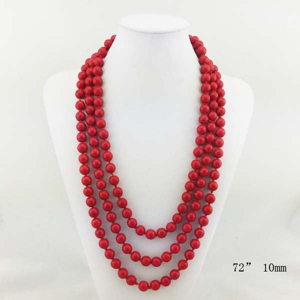 Natural Stone  Long Necklace 72""