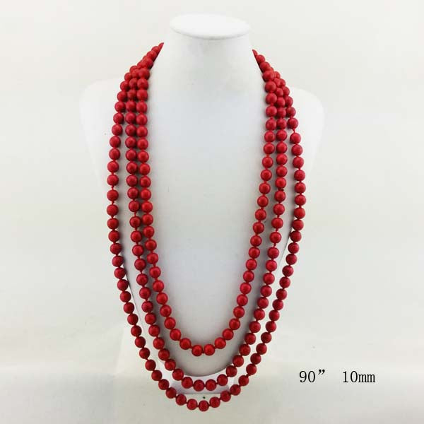Natural Stone  Long Necklace 90""