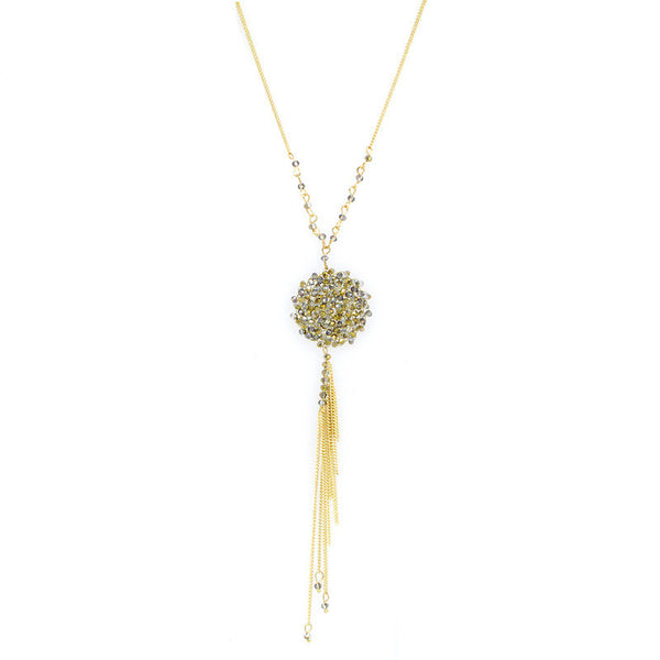 Glass Beads Tassel Pendant Bohemian Long Necklace