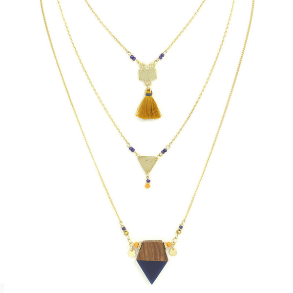 Geometric Layered Pendant Statement Necklace
