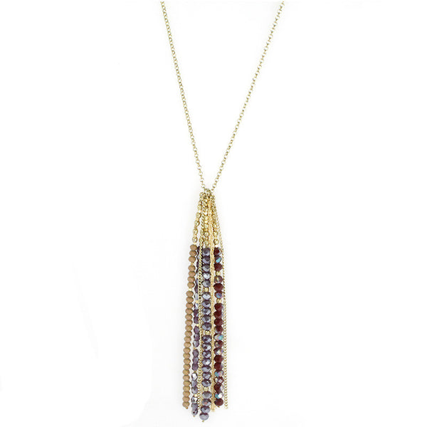 Beads Tassel Suede Long Necklace