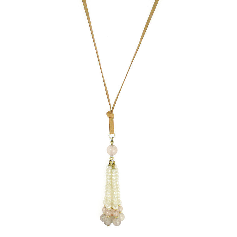 Semi Precious Tassel Boho Long Necklace