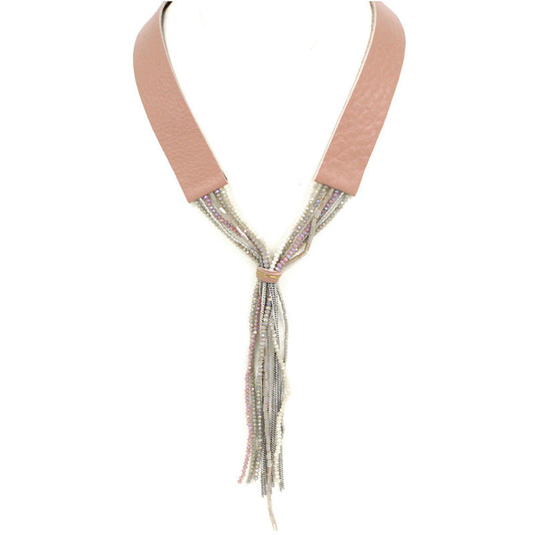 Beads Tassel Leather Y Necklace