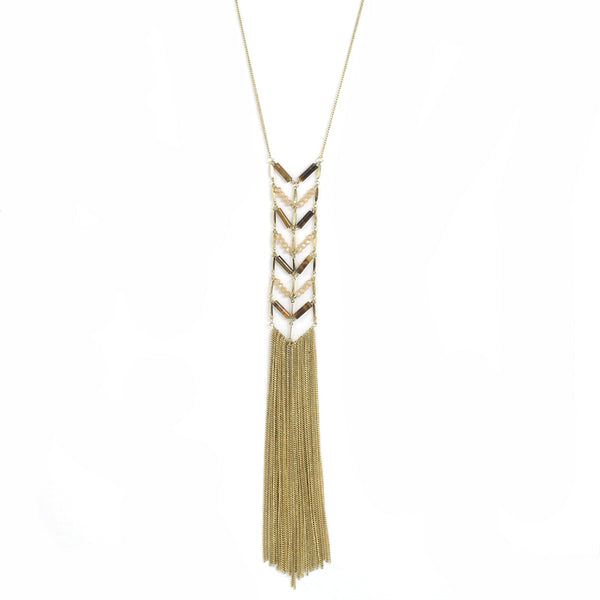 Natural Stone & Tassel Long Necklace
