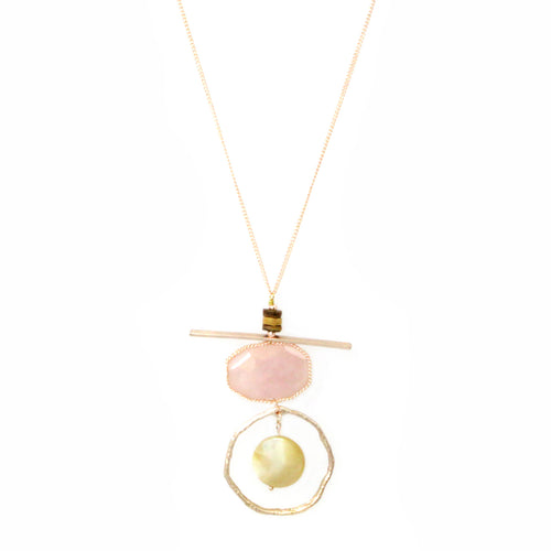 Semi Precious Stone Geometric Pendant Long Necklace