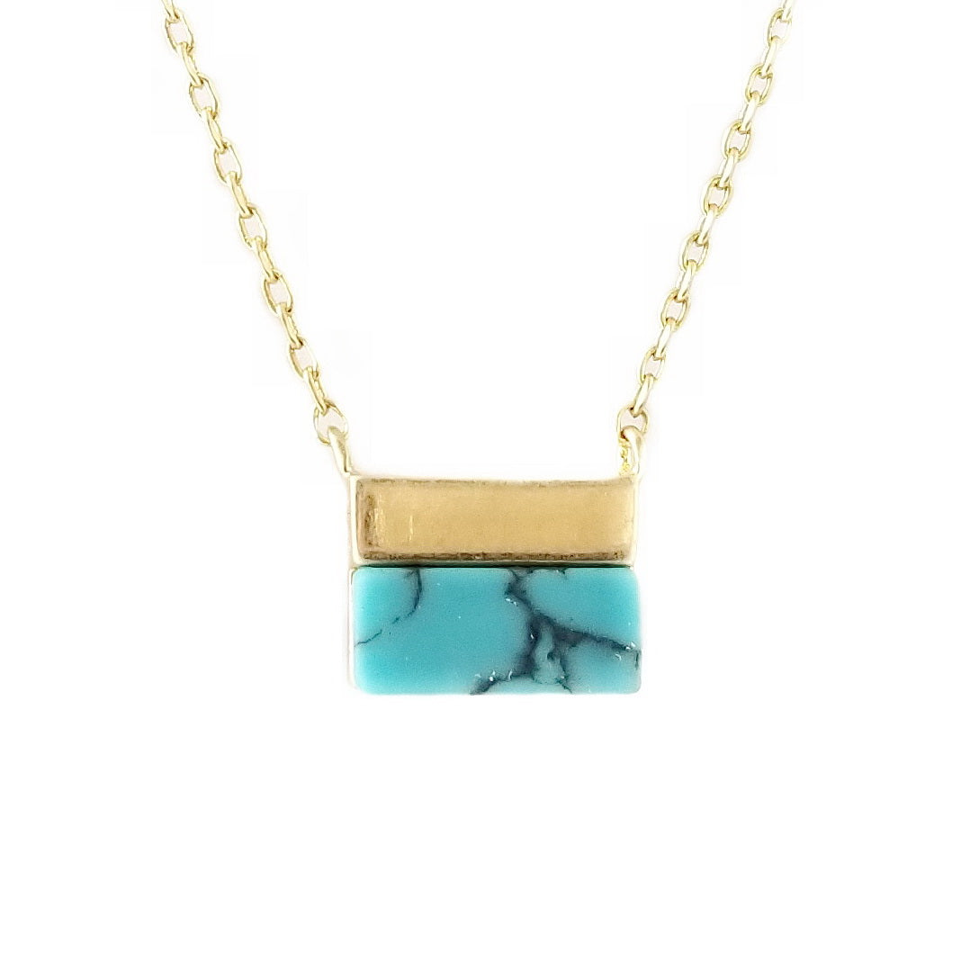 Semi Precious Stone Mini Square Pendant Short Necklace