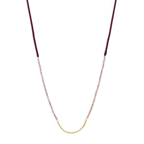 Curved Bar Glass Beaded Suede String Necklace