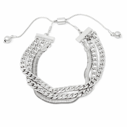 Curb Link And Snake Chain Triple Strand Metal Bracelet