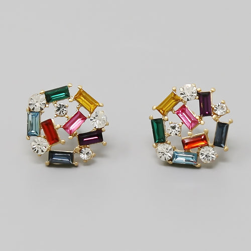 Glass Stone Cluster Stud Earrings