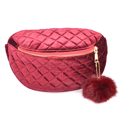Quilted Velvet With Pom Fanny Pack
