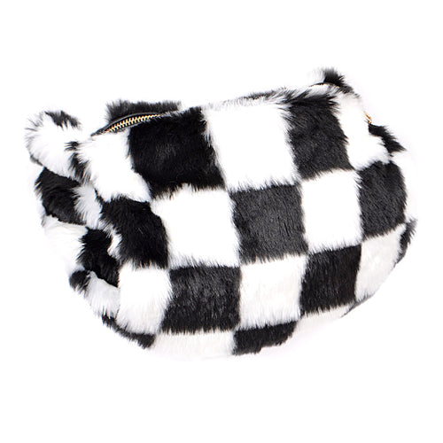 Checkered Faux Fur Hand Warmer Fanny Pack