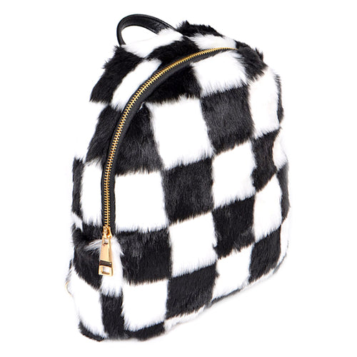 Checkered Faux Fur Back Pack