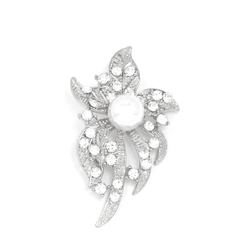 Pave Leaf Crystal Rhinestone with Pearl Pin Brooch