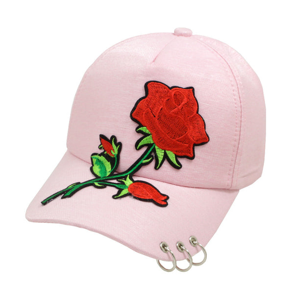 Embroidered Rose Patched Baseball Cap