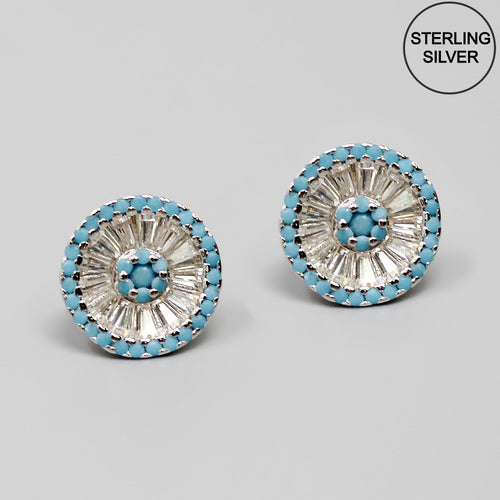 CZ Pave Two Tone Sterling Silver Stud Earrings
