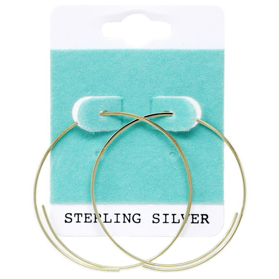 Sterling Silver Open Wire Hoop Earrings