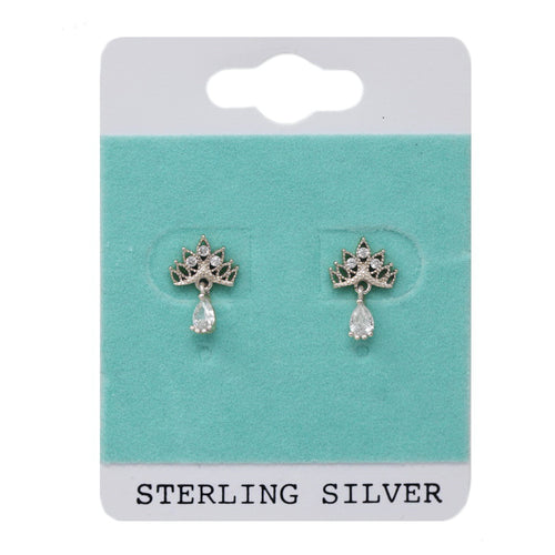 Sterling Silver Mini Crown With CZ Drop Stud Earrings