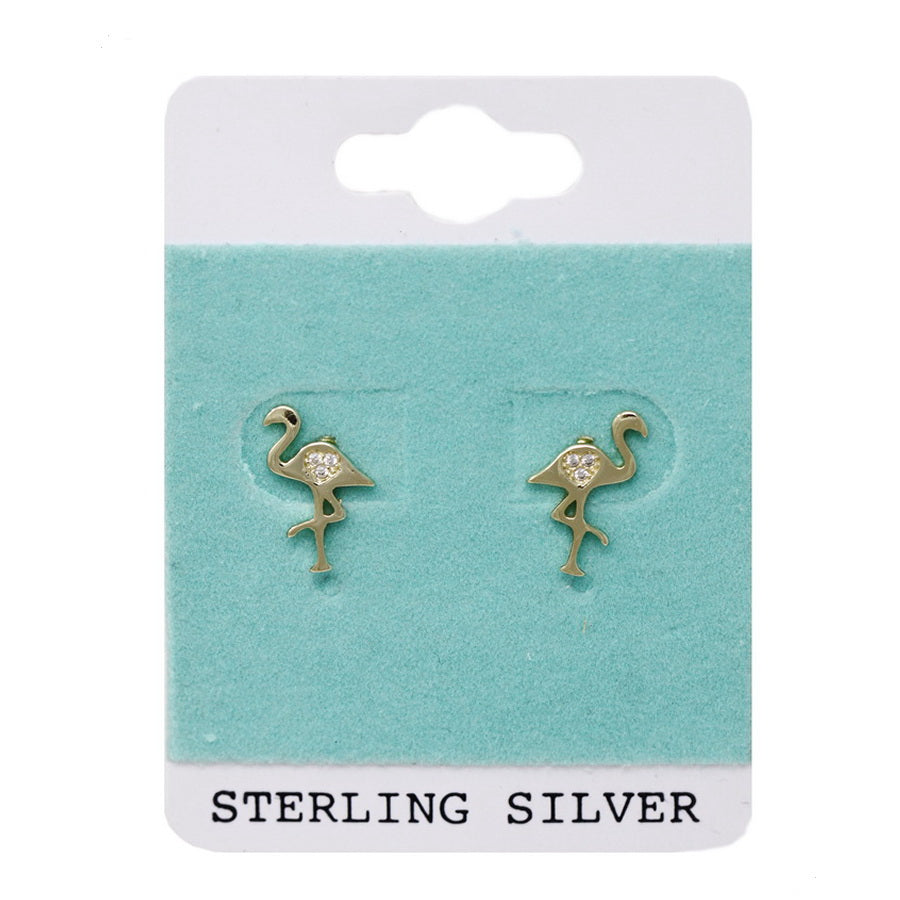 Sterling Silver And CZ Flamingo Stud Earrings