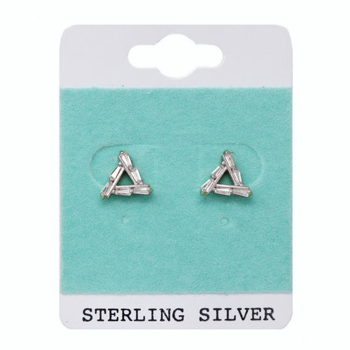 Sterling Silver CZ Paved Triangle Stud Earrings